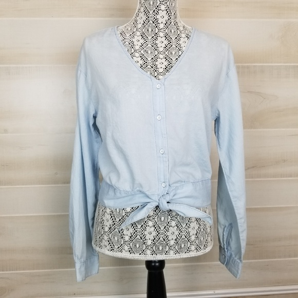 Ginger NWT boho chic anthropologie MADE IN USA Rose Tie-Neck Ruffle Blouse